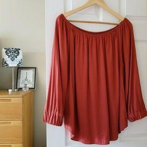 banana republic off the shoulder rust color blouse